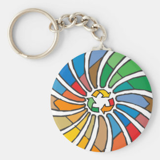 Twirled Recycle Basic Round Button Key Ring
