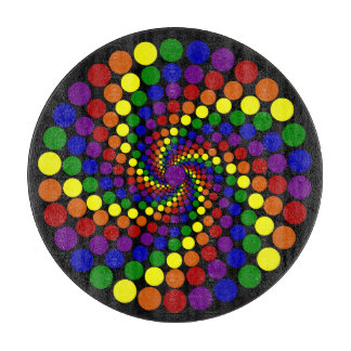 Twirling Color Wheel on Black Cutting Board