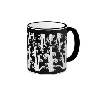 Twirly Stalks - Black and White Coffee Mug