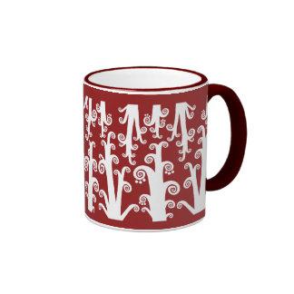 Twirly Stalks - Maroon Ringer Coffee Mug