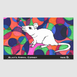 TWIS Sticker: Blair's Animal Corner Rat Rectangular Sticker