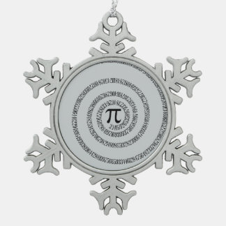 Twist for Pi Click Customize to Change Grey Color Snowflake Pewter Christmas Ornament