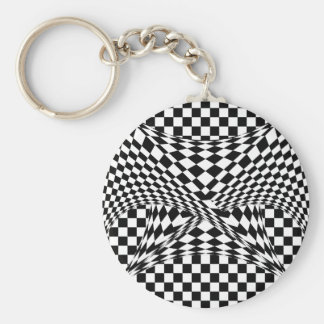 Twisted Checkers by Kenneth Yoncich Basic Round Button Key Ring