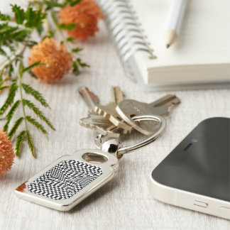 Twisted Checkers Silver-Colored Rectangle Key Ring