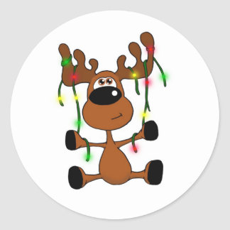 Twisted Christmas Moose Classic Round Sticker
