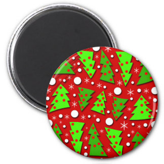 Twisted Christmas trees 6 Cm Round Magnet
