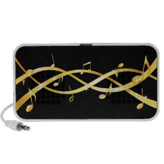 Twisted golden staff lines with musical notes iPad iPod Speaker