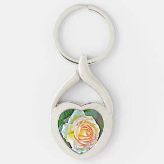 """Twisted Heart Medal """"Beauty Rose"""" Key Chain"""