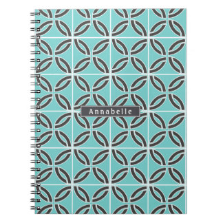 Twisted Lines in Mint and Gray w/ Name/Subject Notebook