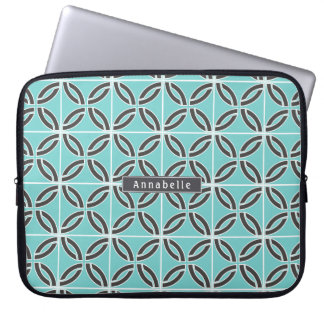 Twisted Lines in Mint and Gray w/ Nameplate Laptop Sleeve
