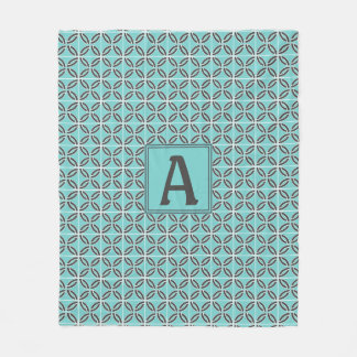 Twisted Lines in Mint and Gray with Monogram Fleece Blanket