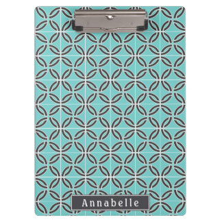 Twisted Lines in Mint & Gray w/ Name (Front/Back) Clipboard