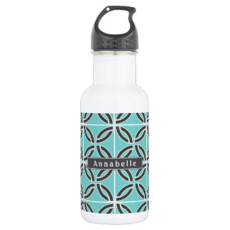 Twisted Lines, Mint and Gray w/ Nameplate 532 Ml Water Bottle