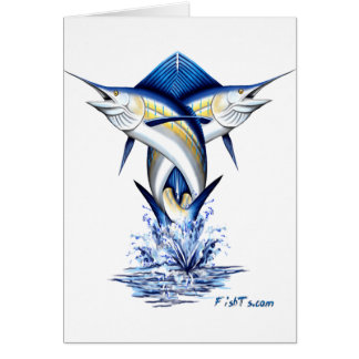 Twisted Marlins Jumping Greeting Cards