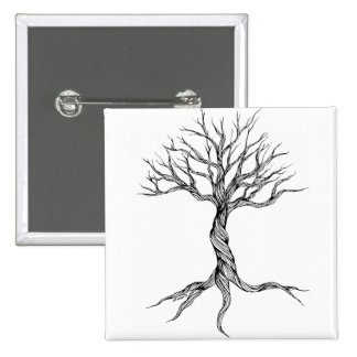 Twisted Old Tree button pin