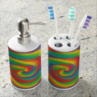 Twisted Rainbow Soap Dispenser And Toothbrush Holder