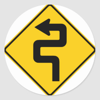 Twisted Road Ahead Highway Sign Classic Round Sticker