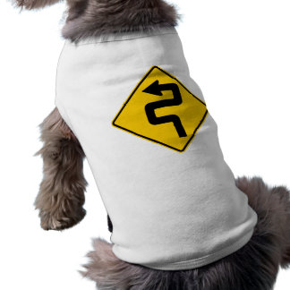 Twisted Road Ahead Highway Sign Sleeveless Dog Shirt