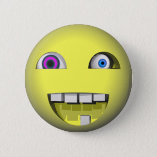 Twisted Smiley With Crazy Eyes 6 Cm Round Badge