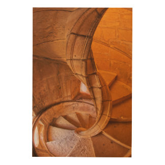 Twisted Spiral Staircase, Portugal Wood Print