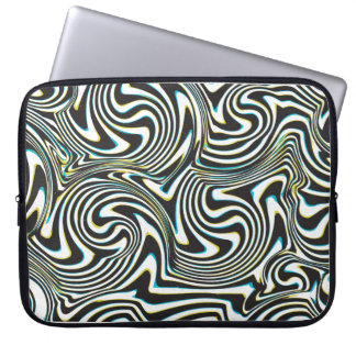 "Twisted zebra stripes pattern ""3d glass effect"" laptop computer sleeve"