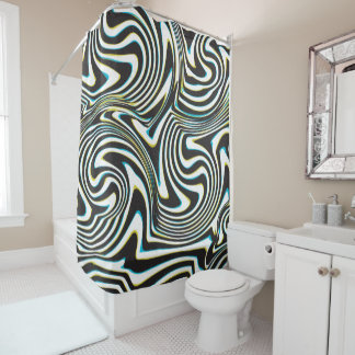 "Twisted zebra stripes pattern ""3d glass effect"" shower curtain"