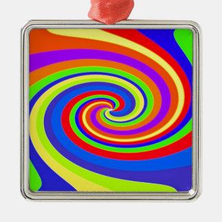 Twister Silver-Colored Square Decoration