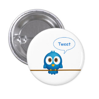 Twitter bird 3 cm round badge