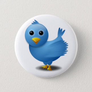 Twitter bird 6 cm round badge