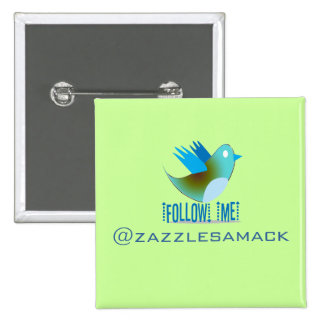 Twitter Bird Follow Me- Choose Background Color 15 Cm Square Badge