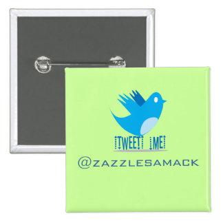 Twitter Bird Follow Me- Choose Background Color 15 Cm Square Badge