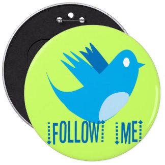 Twitter Bird Follow Me- Choose Background Color 6 Cm Round Badge