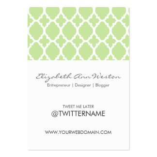 Twitter Business Cards Green Tea Moroccan Tile