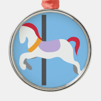 Twitter Emoji - Carousel Horse Silver-Colored Round Decoration