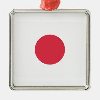Twitter Emoji - Japan Flag Silver-Colored Square Decoration
