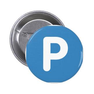 Twitter emoji Letter P 6 Cm Round Badge