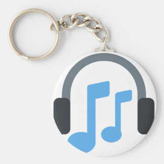 Twitter emoji - Music, Headphone Basic Round Button Key Ring