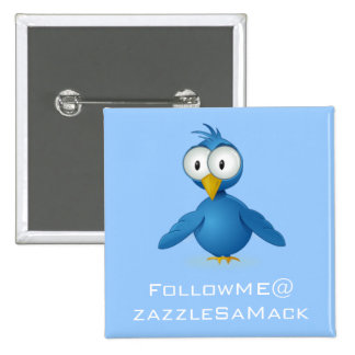 Twitter Follow Me @ Your User Name 15 Cm Square Badge