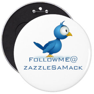 Twitter Follow Me @ Your User Name 6 Cm Round Badge
