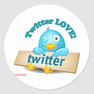 Twitter LOVE Apparel,Gifts & Collectibles Round Sticker