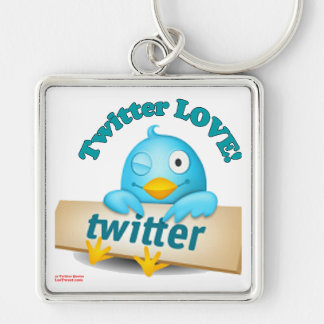 Twitter LOVE Apparel,Gifts & Collectibles Silver-Colored Square Key Ring