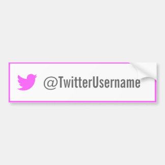 Twitter Username Bumper Sticker (Pink)