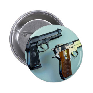 Two .45 caliber automatic guns for gun lovers 6 cm round badge