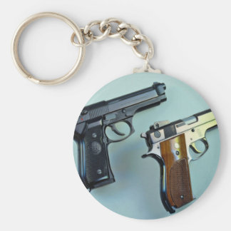 Two .45 caliber automatic guns for gun lovers basic round button key ring