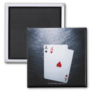 Two Aces Playing Cards on Stainless Steel Square Magnet