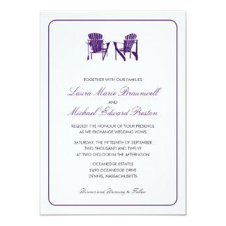 Two Adirondack Chairs Eggplant Purple | Wedding 5x7 Paper Invitation Card