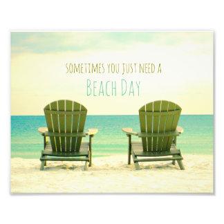 Two Adirondack Chairs on the Beach II Photo Print