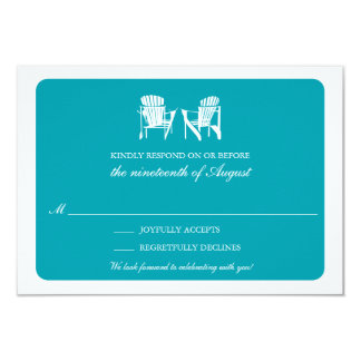 Two Adirondack Chairs RSVP | Teal Card