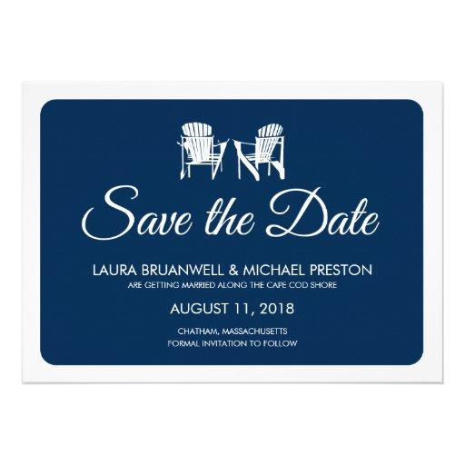 Two Adirondack Chairs Save the Date Custom Invitation