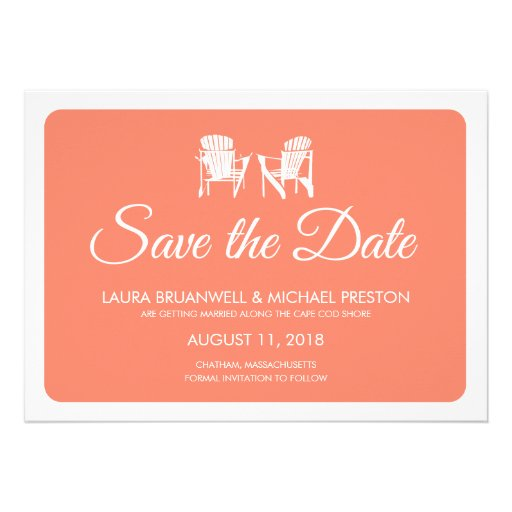Two Adirondack Chairs Save the Date Personalized Invite